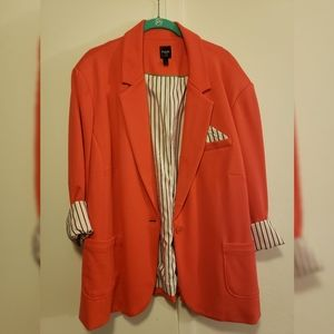 Rafaella Coral Striped Lined Blazer/Jacket New 3X